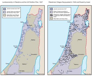 LAND OWNERSHIP IN PALESTINE AND THE UN PARTITION PLAN - PALESTINIAN DEPOPULATED AND DESTROYED VILLAGES, 1948-1949